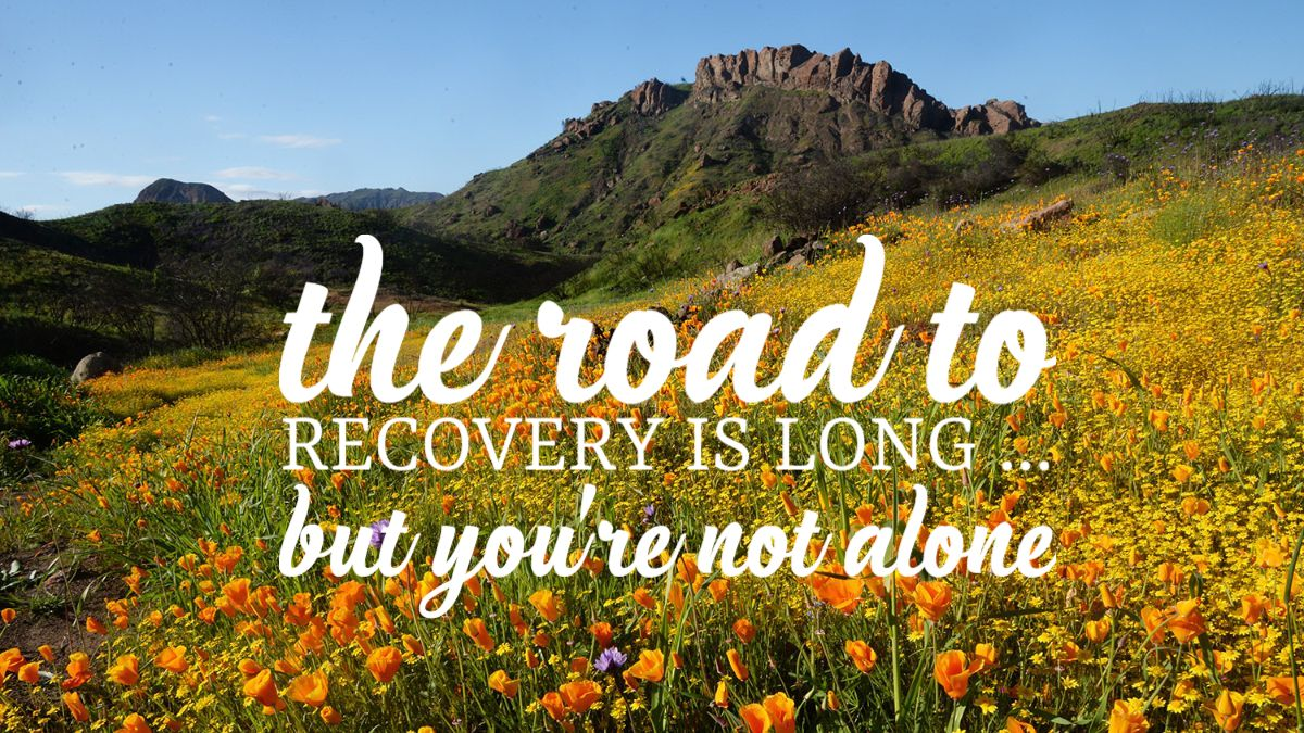 the road to recovery is long...but you're not alone text on nature background