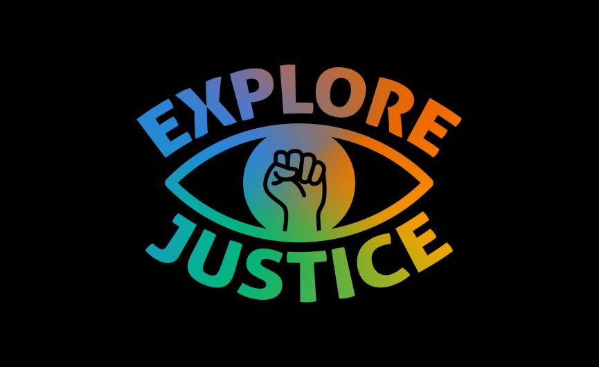 Explore Justice Logo Layered on Black Block